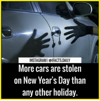 Tag your friends: INSTAGRAMI@IFACTS DAILY  More cars are stolen  on New Year's Day than  any other holiday. Tag your friends
