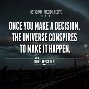 Instagram, Tumblr, and Blog: INSTAGRAMI THEDONLIFESTYE  ONCE YOU MAKE A DECISION,  THE UNIVERSE CONSPIRES  TO MAKE IT HAPPEN  THE  DON LIFESTYLE thedonlifestyle:For More Daily Motivation And Inspiration Follow Us On Instagram @thedonlifestyle https://www.instagram.com/thedonlifestyle