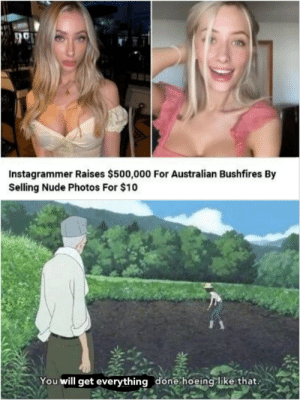 Australian: Instagrammer Raises $500,000 For Australian Bushfires By  Selling Nude Photos For $10  You will get everything done hoeing like that.