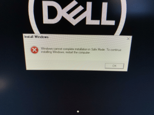 Install Windows Windows Cannot Complete Installation in ...