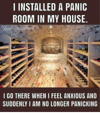 Memes, My House, and House: INSTALLED A PANIC  ROOM IN MY HOUSE  I GO THERE WHEN I FEEL ANXIOUS ANLD  SUDDENLY I AM NO LONGER PANICKING