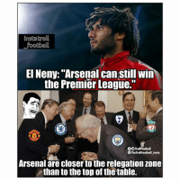 """Arsenal, Football, and Memes: instatroll  football  EI Neny: """"Arsenal can still win  the Premier League.""""  OOTrollfootball  The TrollFootball Insta  Arsenal are closer to the relegation zone  than to the top of the table. Jokes from El Neny before the North London Derby Today ✋😂"""