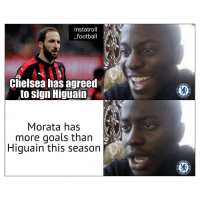 Chelsea, Football, and Friends: instatroll Y  _football  Chelsea has agreed  to sign Higuain  HELS  Morata has  more goals than  Higuain this seasorn  HELS What's the point? 🤨⚽️😝- - DM to 5 friends for a shoutout