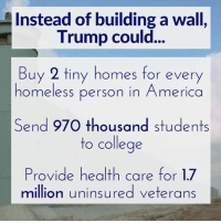 SHARE if you want your tax money to BENEFIT America! www.nationalmemo.com: Instead of building a wall  Trump could  Buy 2 tiny homes for every  homeless person in America  Send 970 thousand students  to college  Provide health care for 17  million uninsured veterans SHARE if you want your tax money to BENEFIT America! www.nationalmemo.com