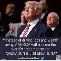 """President-elect DonaldTrump has proven to be quite the job creator even before he has taken office. @Ford Motor Co. announced Tuesday it will cancel a $1.6 billion plant planned for Mexico and will instead invest $700 million in a Michigan assembly plant.: """"Instead of driving jobs and wealth  away, AMERICA will become the  world's great magnet for  INNOVATION & JOB CREATION  FOX  @realDonald Trump  NEWS  (AP/Matt Rourke) President-elect DonaldTrump has proven to be quite the job creator even before he has taken office. @Ford Motor Co. announced Tuesday it will cancel a $1.6 billion plant planned for Mexico and will instead invest $700 million in a Michigan assembly plant."""