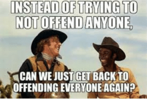 How bout it by dickfromaccounting FOLLOW 4 MORE MEMES.: INSTEAD OF TRYING TO  NOT OFFEND ANYONE  CAN WE JUST GET BACKTO  OFFENDING EVERYONE AGAIN? How bout it by dickfromaccounting FOLLOW 4 MORE MEMES.