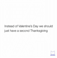 I support this idea.: Instead of Valentine's Day we should  just have a second Thanksgiving  MEMES I support this idea.