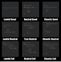 How to loops: int i = 0;  while (i< 50)  int i;  for (i=0;i< 50;) {  Lawful Good  Neutral Good  Chaotic Good  for (int i= 0; -<  Double. POSITIVE IIEINITY:)  if (1 = 50) {  int i = 0;  do  while (true) [  break  f (i50)  break;  ) while (1 < 50):  0)  continue:  Lawful Neutral  True Neutral  Chaotic Neutral  int i 0;  loop: for(;)  int i 0;  int i 0;  loop: while (true!- false)  loop: for (;)  if (i < 50) {  if (i <50 +1)  if i50)  if (i 50)  break loop:  break loop  else  break loop;  Lawful Evil  Neutral Fvil  Chaotic Evil How to loops