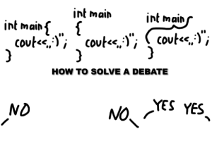 """How To, Programmer Humor, and How: int main  int mains  int main  {  coute,;  }  ( covte,'"""";  coute,"""", covte,;)""""  }  HOW TO SOLVE A DEBATE  YES YES  NO  ND  / We could stop it once and for all..."""
