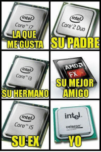 "intel  Intel  Core 2 Duo  Core""  i7  MEGUSTA PADRE  AMDa  (intel  Core  i3  SUMEJOR  SUHERMANO AMIGO  intel  intel  Core is  celeron  YO ese soi io :'v  #cris"