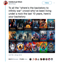 "Blackpeopletwitter, Movies, and Infinity: Intellectual Killah  @IAmPhillyC  Follow  To all the ""where's the backstory to  infinity war"" crowd who've been living  under a rock the last 10 years, here's  your backstory  GUAR  THOR  GALAX у  MAN .  3:07 PM-29 Apr 2018  @ 29 3  e.  我M  83,014 Retweets 170,692 Likes <p>Why would you go see Infinity War if you aren&rsquo;t familiar with the other movies&hellip;.? 🤔 (via /r/BlackPeopleTwitter)</p>"
