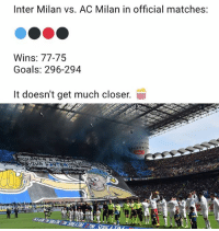 Goals, Memes, and Ac Milan: Inter Milan vs. AC Milan in official matches:  Wins: 77-75  Goals: 296-294  It doesn't get much closer.  00:00 Who will win tonight...?