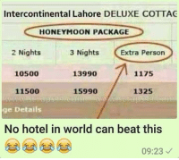 Meanwhile...: Intercontinental Lahore DELUXE COTTAG  HONEYMOON PACKAGE  3 Nights  2 Nights  Extra Person  10500  13990  1175  1325  11500  15990  ge Details  No hotel in world can beat this  09:23 Meanwhile...
