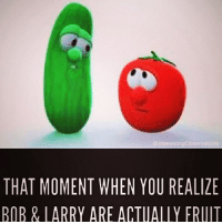Veggie Tales memes❤️ -Ember lol hilarious cleanaccount cleanmemes hahaha cleanfunnyme veggietales: Interestingobservations  THAT MOMENT WHEN YOU REALIZE  BOB & LARRY ARE ACTUALLY FRUIT Veggie Tales memes❤️ -Ember lol hilarious cleanaccount cleanmemes hahaha cleanfunnyme veggietales