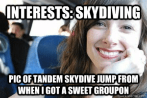 INTERESTSSKYDIVING PICOF TANDEM SKYDIVE JUMP FROM WHENI GOT