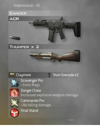 how to p*ss of an entire lobby in mw2: Intermission: 40  CANCER  ACR  THUMPER X 2  Claymore  Stun Grenade x2  Scavenger Pro  Extra Mags  Danger Close  Increased explosive weapon damage.  Commando Pro  +No falling damage.  Final Stand how to p*ss of an entire lobby in mw2