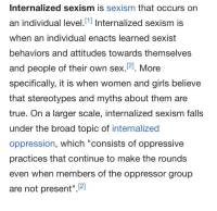 "Girls, Sex, and True: Internalized sexism is sexism that occurs on  an individual level.[1 Internalized sexism is  when an individual enacts learned sexist  behaviors and attitudes towards themselves  and people of their own sex.121. More  specifically, it is when women and girls believe  that stereotypes and myths about them are  true. On a larger scale, internalized sexism falls  under the broad topic of internalized  oppression, which ""consists of oppressive  practices that continue to make the rounds  even when members of the oppressor group  are not present""2"