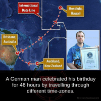 Birthday, Facts, and Memes: International  Honolulu,  Date Line  Hawaii  Brisbane,  Australia  Auckland  New Zealand  A German man celebrated his birthday  for 46 hours by travelling through  different time-zones.  fb.com/facts Weird