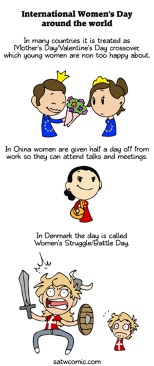 Dank, Mother's Day, and Struggle: International Women's Day  around the world  In many countries it is treated as  Mother's Day/Valentine's Day crossover,  which young women are non too happy about.  In China women are given half a day off from  work so they can attend talks and meetings.  In Denmark the day is called  Women's Struggle/Battle Day.  satwcomic.com International Women's Day