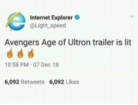 Avengers Age of Ultron, Internet, and Lit: Internet Explorer  @Light speed  Avengers Age of Ultron trailer is lit  10:58 PM 07 Dec 18  6,092 Retweets  6,092 Likes Lit in true sense. via /r/memes https://ift.tt/2GcYXer
