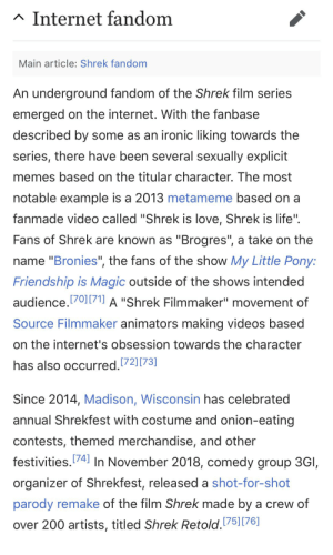 """Internet, Ironic, and Life: Internet fandom  Main article: Shrek fandom  An underground fandom of the Shrek film series  emerged on the internet. With the fanbase  described by some as an ironic liking towards the  series, there have been several sexually explicit  memes based on the titular character. The most  notable example is a 2013 metameme based on a  fanmade video called """"Shrek is love, Shrek is life""""  Fans of Shrek are known as """"Brogres"""", a take on the  name """"Bronies"""", the fans of the show My Little Pony:  Friendship is Magic outside of the shows intended  audience.70171] A """"Shrek Filmmaker"""" movement of  Source Filmmaker animators making videos based  on the internet's obsession towards the character  has also occurred.72][73]  Since 2014, Madison, Wisconsin has celebrated  annual Shrekfest with costume and onion-eating  contests, themed merchandise, and other  festivities.74 In November 2018, comedy group 3GI,  organizer of Shrekfest, released a shot-for-shot  parody remake of the film Shrek made by a crew of  over 200 artists, titled Shrek Retold.75] [76] shrek"""