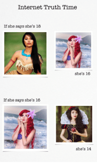 For my cakeday- I made you guys a Disney version of one of my most-liked OC memes: Internet Truth Time  If she says she's 18  she's 16  If she says she's 16  she's 14 For my cakeday- I made you guys a Disney version of one of my most-liked OC memes