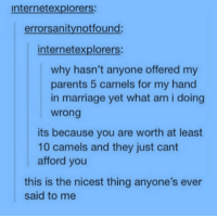 Marriage, Parents, and Why: internetexplorers:  errorsanitynotfound:  internetexplorers  why hasn't anyone offered my  parents 5 camels for my hand  in marriage yet what am i doing  wrong  its because you are worth at least  10 camels and they just cant  afford you  this is the nicest thing anyone's ever  said to me