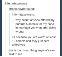 Marriage, Parents, and Why: internetexplorers:  errorsanitynotfound:  internetexplorers:  why hasn't anyone offered my  parents 5 camels for my hand  in marriage yet what am i doing  wrong  its because you are worth at least  10 camels and they just cant  afford you  this is the nicest thing anyone's ever  said to me Offering camels for a hand in marriage