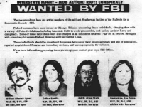 Af, College, and Fbi: INTERSTATE FLIGHT MOB AcHON: RIOT: CONSPIRACY  WANTED BY FBI  The periona shown bere sre active nembers of the militant Weatherman faction af the Students for a  Democratie Society-SDS.  Federal warrants buve been iseued at Chieago, Blinois, conceming those individuals, charging them with  a variety of Federal violntions including interstate light to avoid proeocution, mob action, Antiriot Laws and  conspiracy. Sone of these individusls were also charged in an indictment retuned 7/23/70 at Detriot, Michigan,  with conspiracy to violate Federal Boeabing and Gan Control Laws  These individunls should be considered dangerous because of their known advocacy and use of explosives.  reported acquisition of firearms and incendiary devices, and known propensity for violence  If you have information sgoming these personsplease contact your local FBI 0mce.  illlan Charles Arers  WN, 25, 5-10, по  brn hair, bm oyes  Kathto Bondis  W/F, 26, 5-4,128  brs hair, blue eyos  Juits Alice Olark  W/F. 20, 52.125  tm bair, bm eyes  Bemardine Ras Dohrn  W/F, 28, S-5,125  drk bm halr, bm eyes