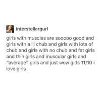 "chub: interstellargurl  girls with muscles are sooooo good and  girls with a lil chub and girls with lots of  chub and girls with no chub and fat girls  and thin girls and muscular girls and  ""average"" girls and just wow girls 11/10 i  love girls"