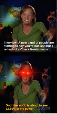 Chuck Norris, God, and Meme: Interview: A new band of people are  starting to say you're not God but a  rehash of a Chuck Norris meme  God: the world is about to see  32.59% of my power
