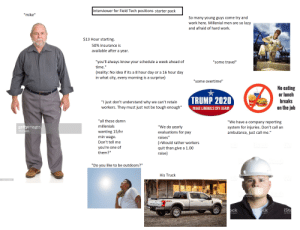 "Interview for a Field Tech Position [OC]: Interviewer for Field Tech positions starter pack  ""mike""  So many young guys come try and  work here. Millenial men are so lazy  and afraid of hard work.  $13 Hour starting  50% Insurance is  available after a year.  ""you'll always know your schedule a week ahead of  ""some travel""  time.""  (reality: No idea if its a 8 hour day or a 16 hour day  in what city, every morning is a surprise)  ""some overtime""  No eating  or lunch  breaks  TRUMP 2020  ""I just don't understand why we can't retain  on the job  workers. They must just not be tough enough""  MAKE LIBERALS CRY AGAIN  ""all these damn  ""We have a company reporting  millenials  ""We do yearly  evaluations for pay  gettyimages  drbimages  system for injuries. Don't call an  ambulance, just call me.""  wanting 15/hr  min wage  Don't tell me  raises""  (>Would rather workers  quit than give a 1.00  raise)  you're one of  them?""  Steck  yty Images  ""Do you like to be outdoors?""  His Truck  185116564  Ock  ty Images  IStock  iSt  ock  Images  gamages  by Getty Interview for a Field Tech Position [OC]"