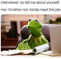 Memes, Savage, and 🤖: interviewer: so tell me about yourself  me: i'd rather not i kinda need this job Dm to someone savage 🔥