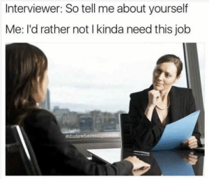 Dank, Memes, and Target: Interviewer: So tell me about yourself  Me: I'd rather not I kinda need this job  edudewheresmyn Me irl by diggin4stefon FOLLOW HERE 4 MORE MEMES.
