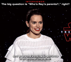 "kylos:Daisy Ridley talking about the frustrations of the Rey-parentage debacle in an interview back in December 2017: INTERVIEWER:  The big question is ""Who's Rey's parents?,"" right?   . ТнЕ  and everyone's trying to attribute  it to another character.  ৯৯১ ১ ৯  ১৯৯৯১ ২২৯১ ১১  ৯ ২৯১,৮  ১ ,১ ১  ১ kylos:Daisy Ridley talking about the frustrations of the Rey-parentage debacle in an interview back in December 2017"