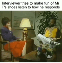 Mr T Dead: Interviewer tries to make fun of Mr  T's shoes listen to how he responds