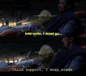 evade: Into exile, I must go...  Child support, I must evade.