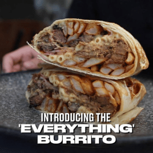 The 'Everything Burrito' is packed full of barbecued meat and is as big as your forearm - perfect for National Burrito Day! 😮🌯💪: INTRODUCING THE  EVERYTHING  BURRITO The 'Everything Burrito' is packed full of barbecued meat and is as big as your forearm - perfect for National Burrito Day! 😮🌯💪