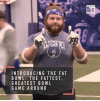"Sports, Bowling, and Fat: INTRODUCING THE FAT  BOWL: THE FATTEST.  GREATEST BOWL  GAME AROUND  r  b  A  FT  TL  迎  AVD  GFON  NBU  IE  CITO  UTSR  DEA  R AE  TWEM  ""ORA  lBGG The big boys show us what they got in @uca_football's annual FatBowl"