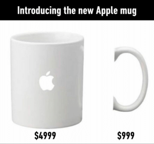 Apple, Dank, and 🤖: Introducing the new Apple mug  $4999  $999 And iGlue for $199.