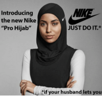 """Hijab, Do It, and  Nikes: Introducing  the new Nike  """"Pro Hijab""""  JUST DO IT  NU if your husband lets you"""