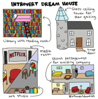 Friends, Introvert, and Memes: INTROVERT DREAM HOUSE  Glass ceiling  tower for  Star gazing  o o EB  Library with reading nook  Strap  media  NETFLIX  Secret passageways  for avoiding company  Ea  art studio  eintroverta oodles From the brilliant artist and our friend over at Introvert Doodles.   What would you change or add to Marzi's list?