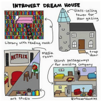 Introvert, Memes, and Netflix: INTROVERT DREAM HOUSE  Glass tower for  TOM  Star gazing  o  Library with reading nook  media.  door  NETFLIX  Secret passageways  for avoiding company  art studio  eintrovertdoodles Subscribe to Title Wave's weekly newsletter:  https://suefitzmaurice.leadpages.co/titlewave/