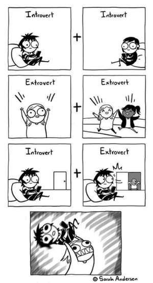 Sarah Scribbles at her best: Introvert  Introvert  Extrovert  Extrovert  Extrovert  Introvert  Sarah Andersen Sarah Scribbles at her best