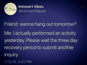 meirl: Introvert Vibes  @IntrovertSquad  Friend: wanna hang out tomorrow?  Me: I actually performed an activity  yesterday. Please wait the three day  recovery period to submit another  inquiry.  7/12/18, 4:02 PM meirl