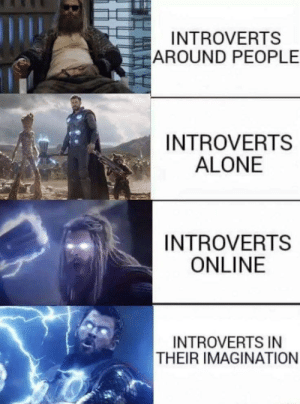 imagination: INTROVERTS  AROUND PEOPLE  INTROVERTS  ALONE  INTROVERTS  ONLINE  INTROVERTS IN  THEIR IMAGINATION