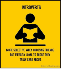 We are selective, but fiercely loyal. #introvert: INTROVERTS  MORE SELECTIVE WHEN CHOOSING FRIENDS  BUT FIERCELY LOYAL TO THOSE THEY  TRULY CARE ABOUT  IntrovertSpring.com We are selective, but fiercely loyal. #introvert