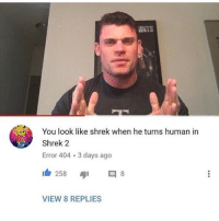 Af, Memes, and Shrek: INTS  You look like shrek when he turns human in  Shrek 2  Error 404.3 days ago  VIEW 8 REPLIES Accurate AF😂