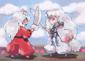 Target, Tumblr, and Blog: inukag:  Here's a realistic illustration of feudal japan's dreadful dog demon brothersAlso, I can't stop making sparkly chibis save meDA: X