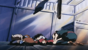 Gif, Target, and Tumblr: inuyashascomiclibrary:  Just noticed this as I was making the gif and had to capture the moment when Kagome protects Inuyasha with her own body.